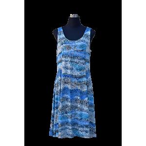 Blue & White Snake Print Sleeveless Dress