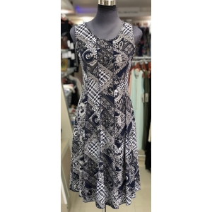 Navy Stitch Turk Pattern Dress