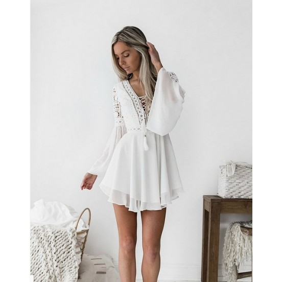 BOHO White Lace V Neck Mini Dress