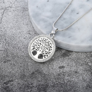 Tree of Life Crystal Round Pendant Necklace