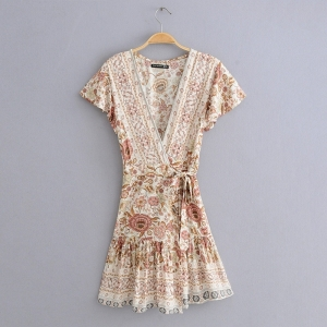 BOHO - Floral Print Cream Wrap Dress