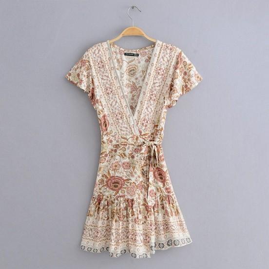 BOHO - Floral Print Cream Wrap Dress