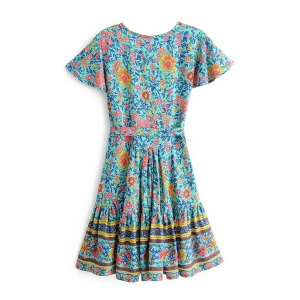 BOHO - Floral Print Turqoise Summer Wrap Dress