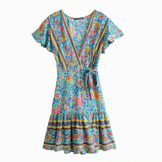 20ca048c888 BOHO - Floral Print Turqoise Summer Wrap Dress