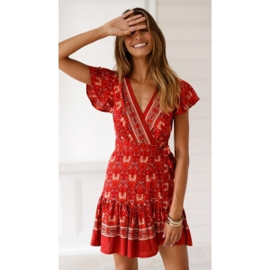 BOHO - Floral Print Red Summer Wrap Dress