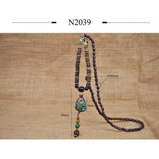Ethnic Nepal Wood Beads Necklace