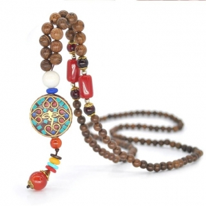 Ethnic Nepal Wood Beads Necklace