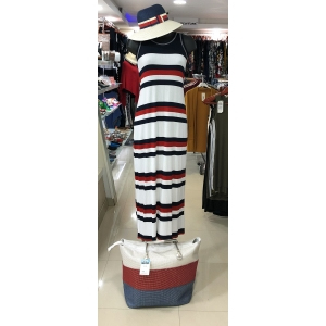 Blue Red White Striped Maxi Dress