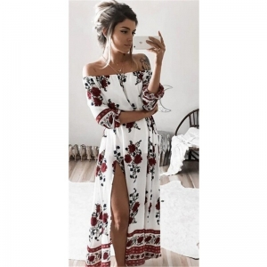 Off Shoulder Floral Print Dress