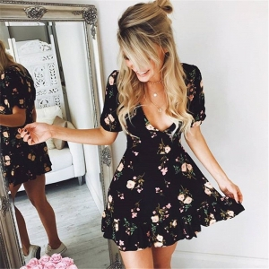 Black V Neck Floral Mini Dress