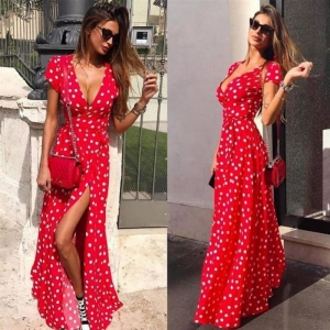 Long Wrap Polka Dots Dress