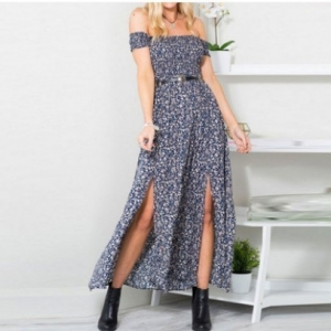Strapless Bohemian Floral Maxi Dress