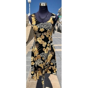 Golden Flowers Sleeveless Dress