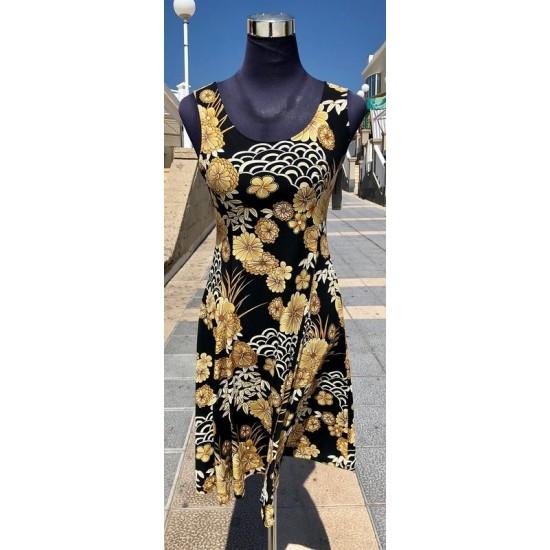 Golden Flowers Sleeveless Dress
