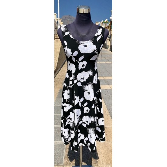 Black & White Flowers Sleeveless Dress