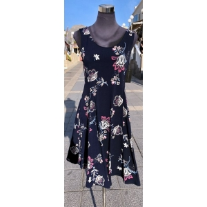 Navy Floral Sleeveless Dress