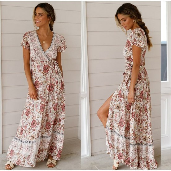 Bohemian Summer Wrap Dress