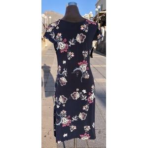Navy Floral Sleeveless Dress
