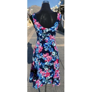 Pink & Blue Floral Sleeveless Dress