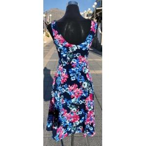 Pink & Blue Floral Sleeveless Dress