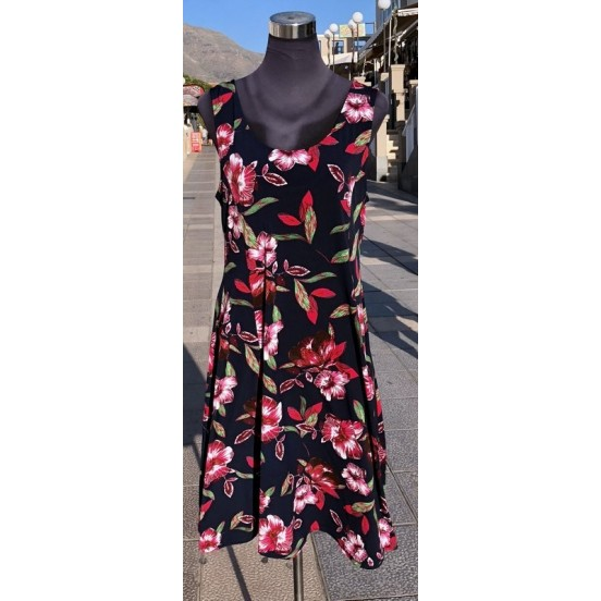 Navy with Red Flowers Sleeveless Dress