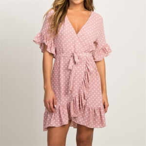 Polka Dots Wrap Dress with...