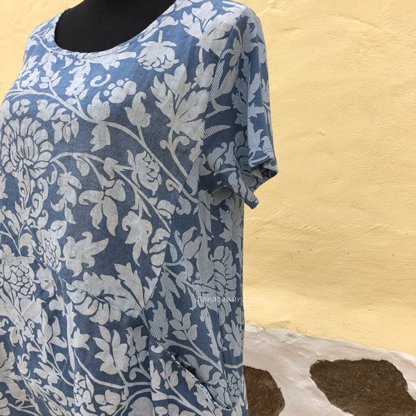 Blue Floral Linen Dress Elastic Side