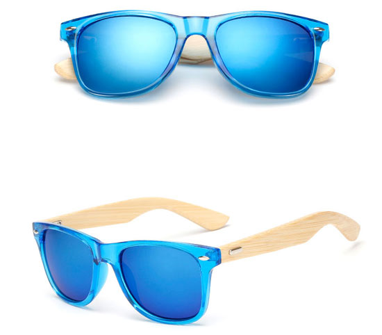 Blue Frame Bamboo UV400 Sun Glasses