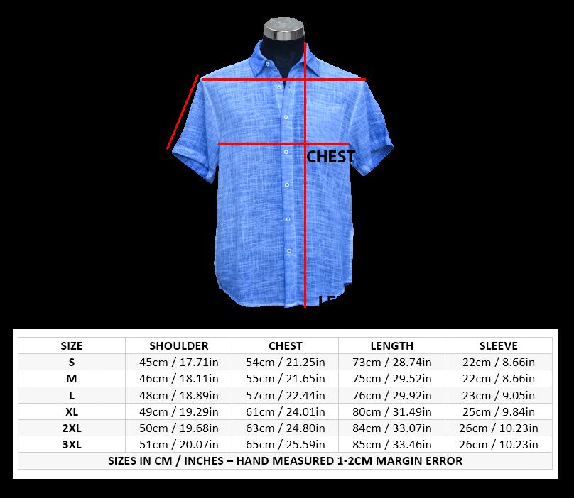 Organic Cotton Men Shirt Size Guide