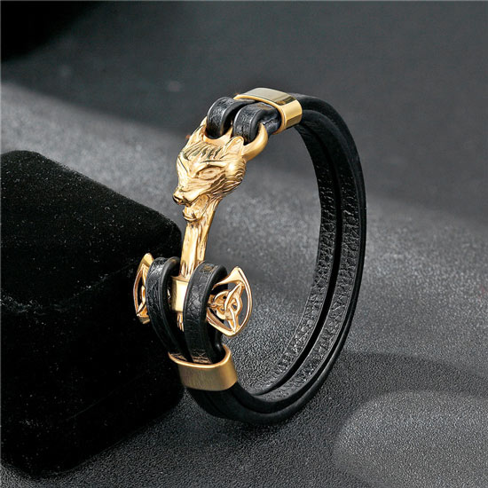 Gold Fierce Wolf Leather Steel Bracelet