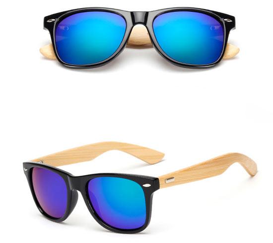 Lente Mosca Azul Gafas Bambú UV400