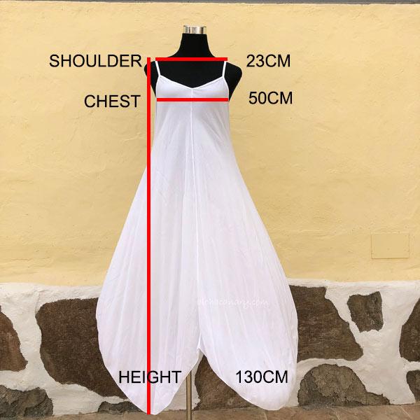Guia de Talla Vestido Blanco Largo Tiras