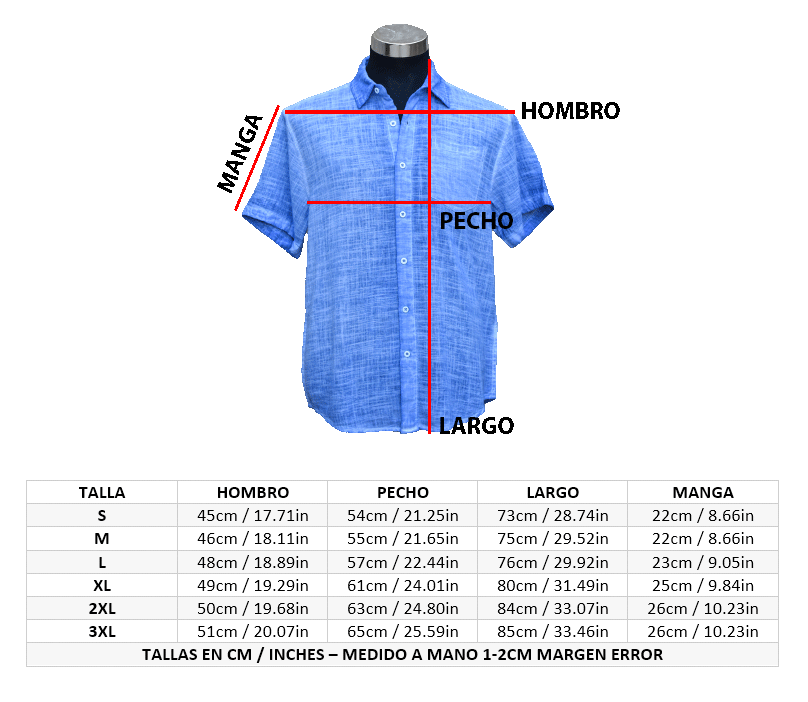 Tallaje Camisa Organica