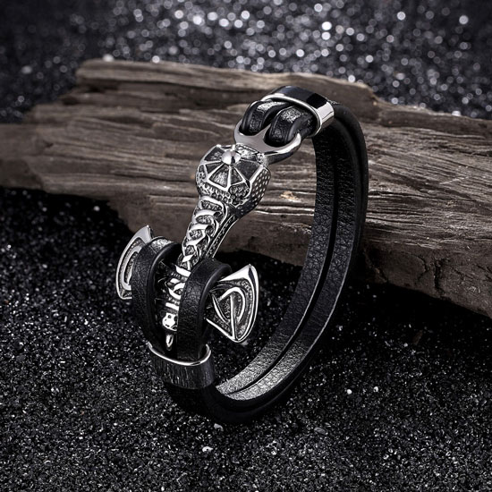 Silver Viking Cross Bracelet