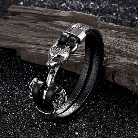Fierce Wolf Silver Leather Bracelet